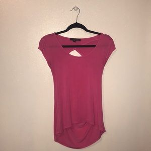 Pink criss cross open back t-shirt